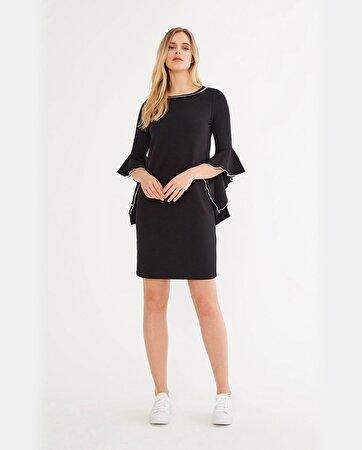 Yarım İspanyol Kol Detaylı Elbise