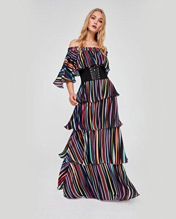 Düşük Omuz Detaylı Kemerli Elbise
