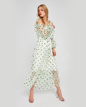 Puantiye Desenli Tül Elbise