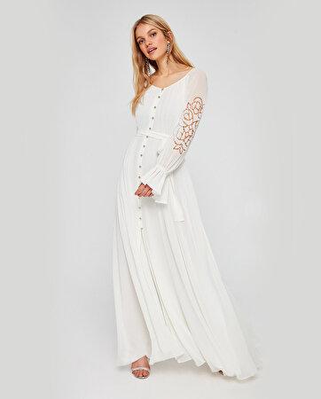 Kolları Nakışlı Şifon Elbise