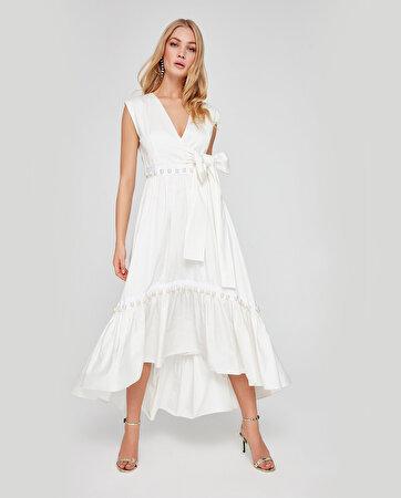 Asimetrik Kesim İnci İşlemeli Elbise