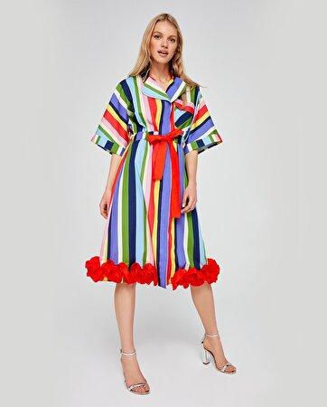 Etek Ucu Fırfır Detaylı Elbise