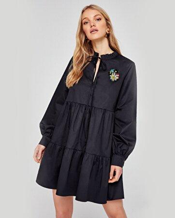 Boncuk Detaylı Oversize Elbise