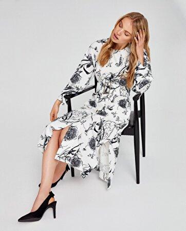 Desenli Beli Kemerli Elbise