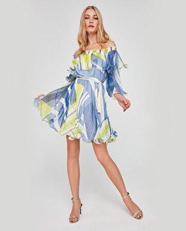 Volanlı Beli Kemerli Şifon Elbise