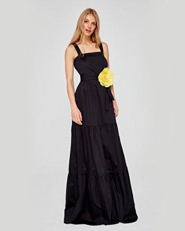 Çiçek Broşlu Büzgülü Uzun Elbise