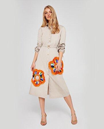 Aplik Çiçek Detaylı Elbise