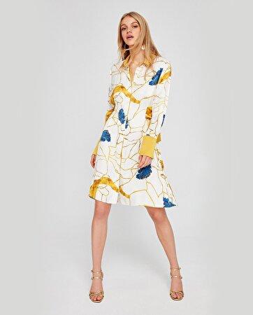 Yan Detayı Kuşak Bağlamalı Gömlek Elbise