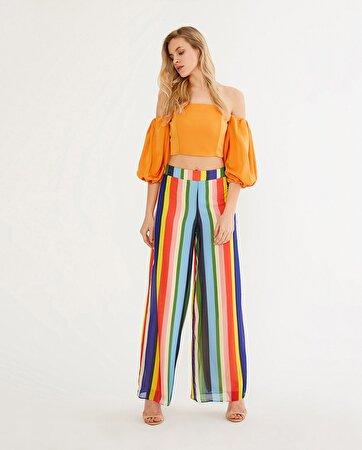 Renkli Tül Detaylı Pantolon