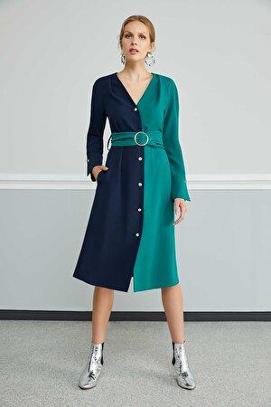 Kontrast Renkli Elbise