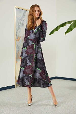 Kruvaze Kapama Desenli Elbise