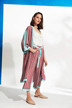 Desenli Yan Yırtmaçlı Kimono