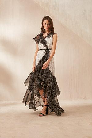 Puantiye Desen Volanlı Şifon Elbise