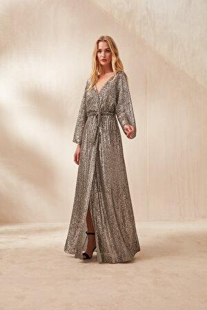 Payetli Anvelop Kapama Elbise