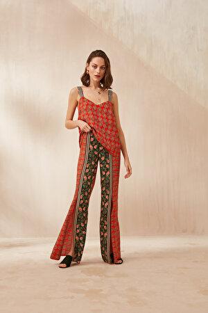 Yırtmaçlı Desenli Pantolon