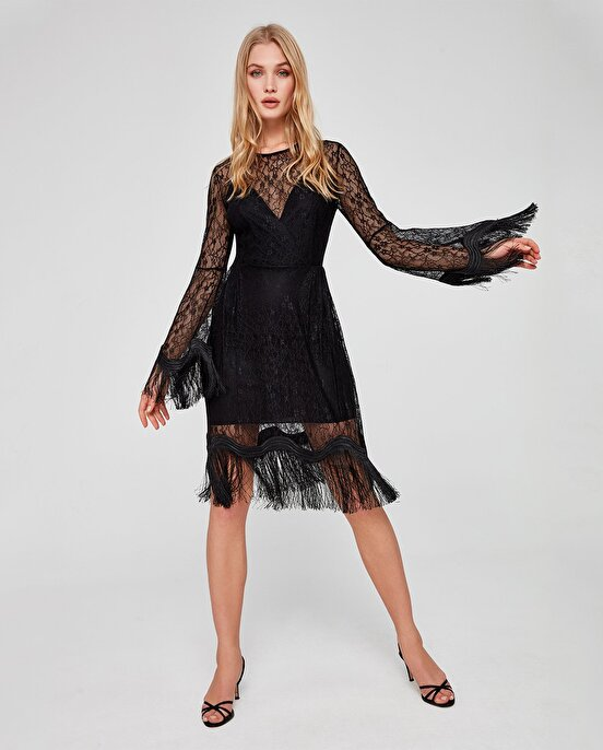 Nocturne Püskül Detaylı Elbise