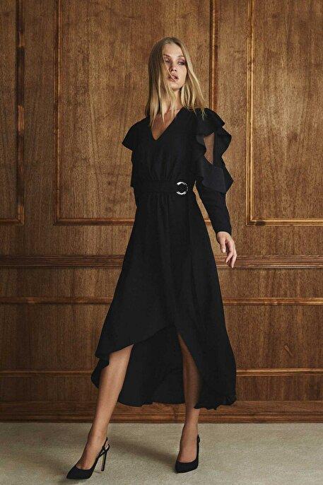Nocturne Kol Detaylı V Yaka Elbise
