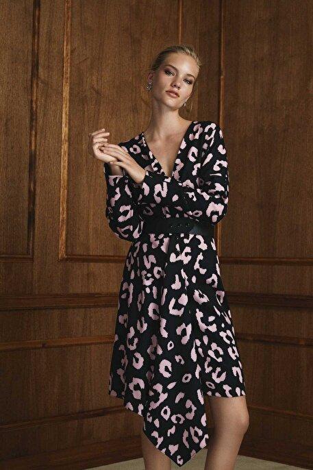 Nocturne V Yaka Renkli Desenli Elbise