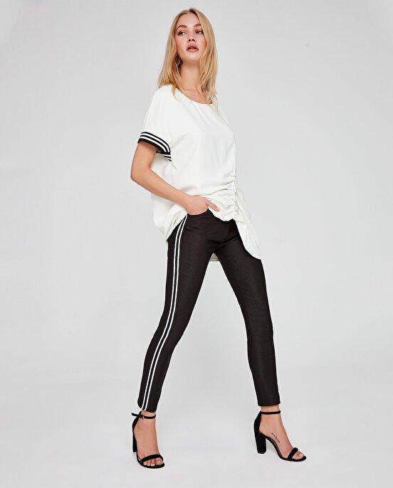 Nocturne Beyaz Yan Çizgi Detaylı Pantolon