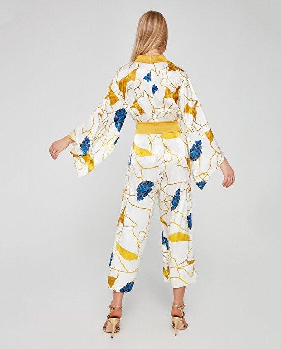 Nocturne Anvelop Kapama Desenli Kimono Tulum