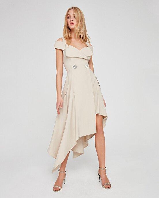 Nocturne Asimetrik Kesim Omuz Detaylı Elbise