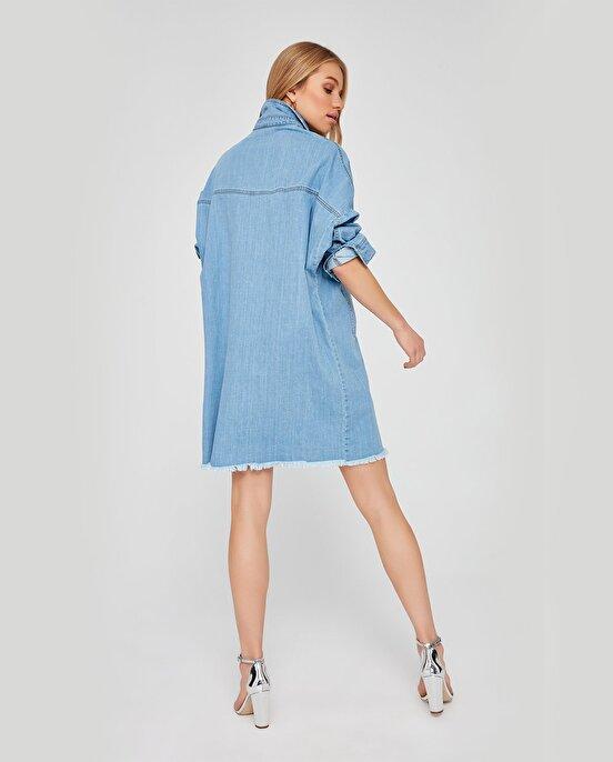 Nocturne Kolu Nakış Detaylı Oversize Jean Elbise