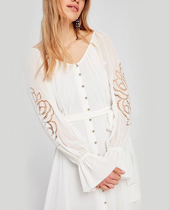 Nocturne Kolları Nakışlı Şifon Elbise