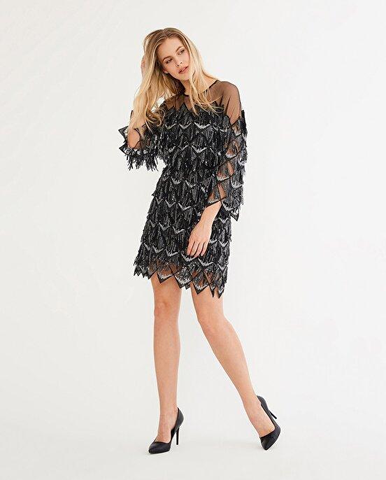 Nocturne Taş İşlemeli Oversize Elbise
