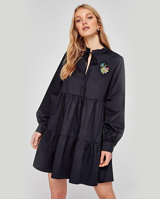 Nocturne Boncuk Detaylı Oversize Elbise