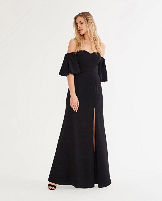 Nocturne Omuzları Düşük Yırtmaçlı Elbise