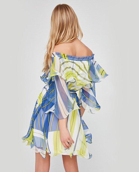 Nocturne Volanlı Beli Kemerli Şifon Elbise