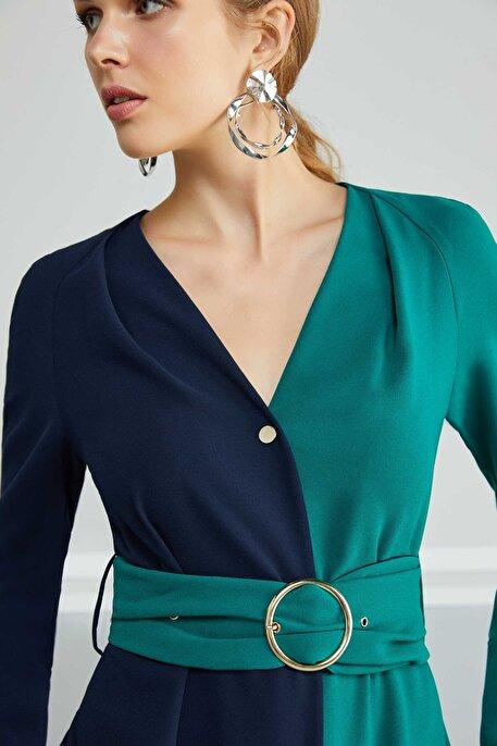 Nocturne Kontrast Renkli Elbise