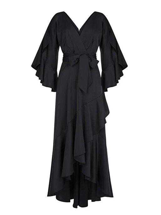 Nocturne Volanlı Asimetrik Kesim Romantik Elbise