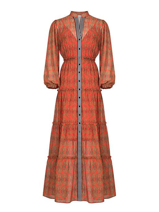 Nocturne Şerit Detaylı Şifon Elbise