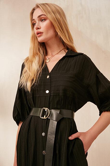 Nocturne Düğme Kapamalı Dokulu Kumaş Elbise