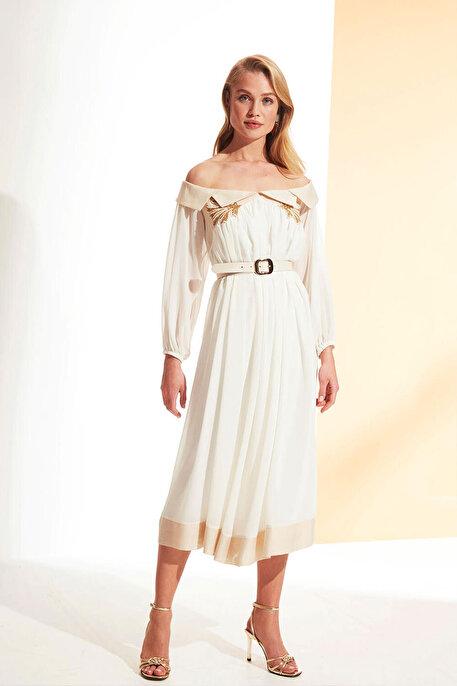 Nocturne Düşük Omuz Nakışlı Elbise