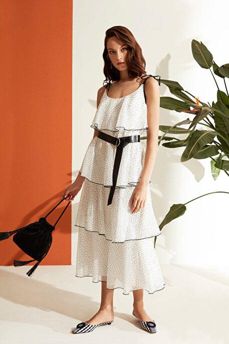 Nocturne Puantiye Desen Volanlı Elbise