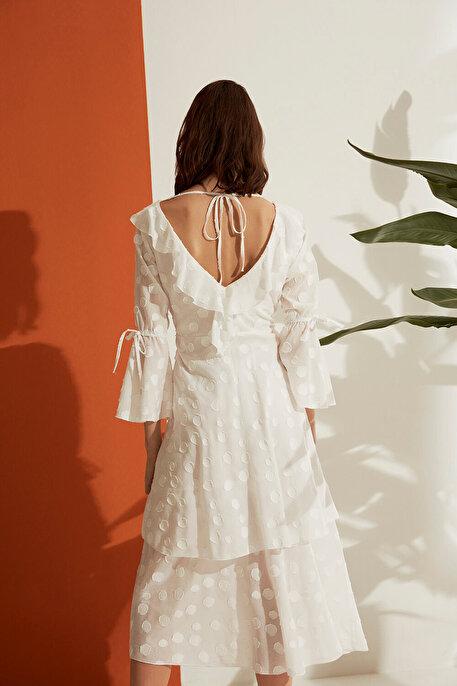 Nocturne Jakarlı Puantiye Desen Elbise