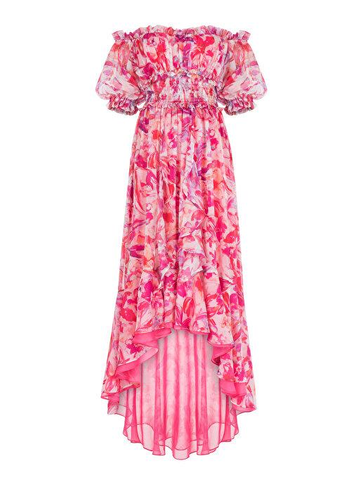 Nocturne Düşük Omuz Şifon Elbise