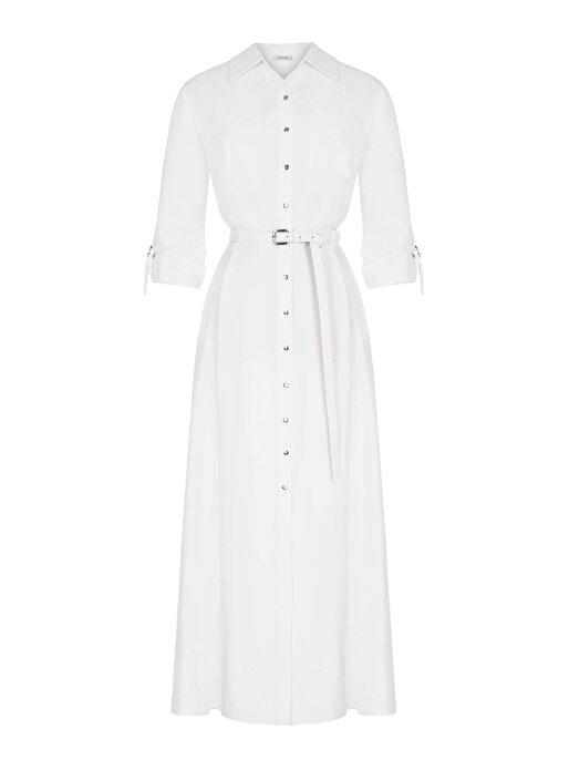 Nocturne Sırtı Pencere Detaylı Kemerli Elbise