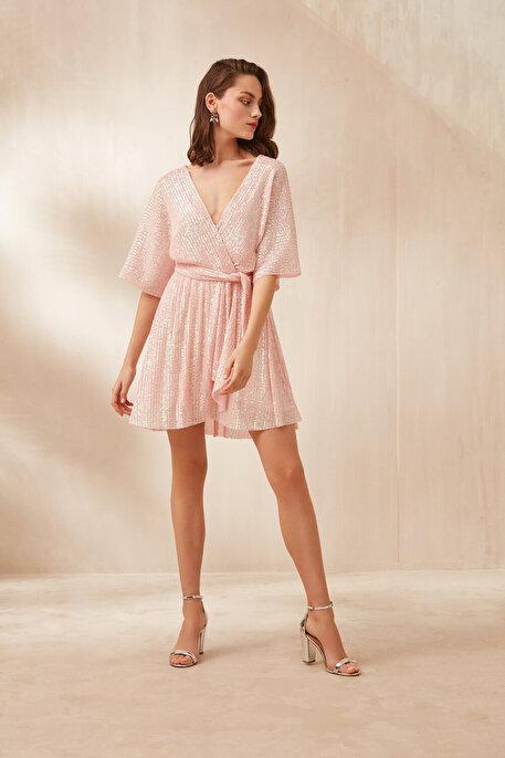 Nocturne Anvelop Kapama Payetli Mini Elbise