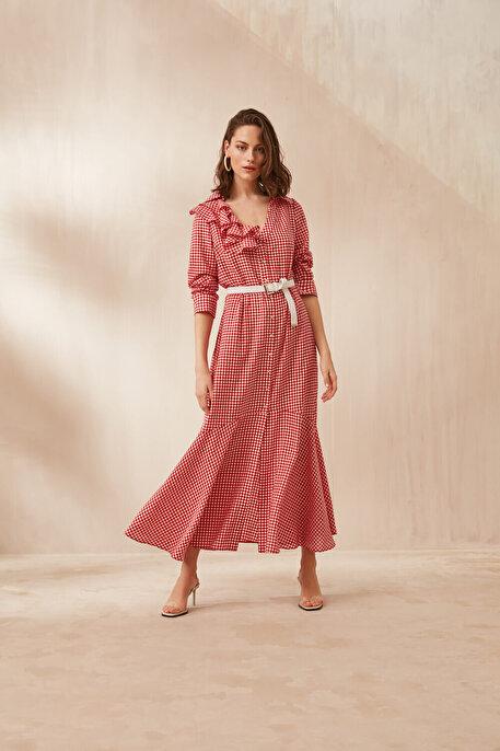 Nocturne Yakası Volanlı Pötikare Elbise