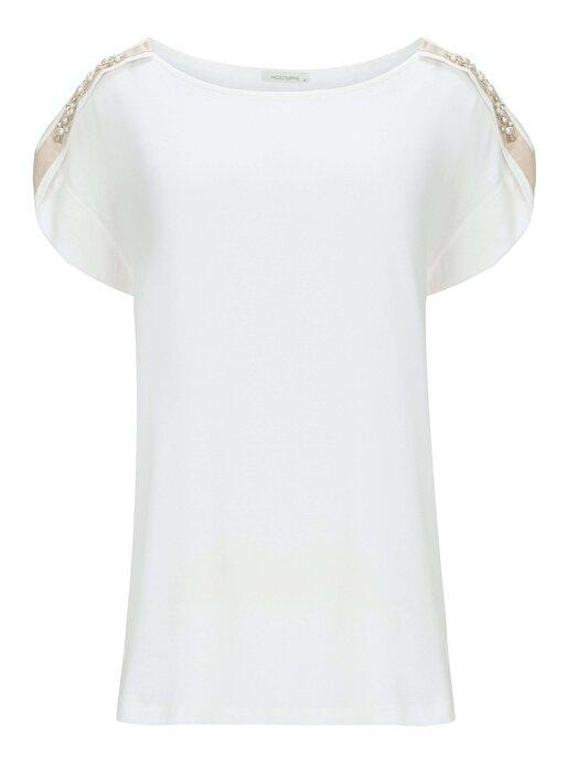 Nocturne Omuzları İnci ve Kristal Taş İşlemeli Tişört