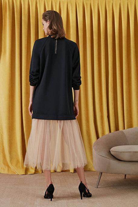 Nocturne Etek Ucu Tül Detaylı Sweat Elbise