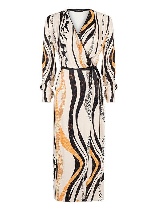 Nocturne Kruvaze Kapama Desenli Elbise