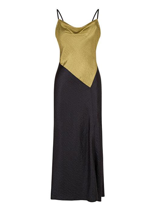 Nocturne İnce Askılı Drape Yaka Elbise