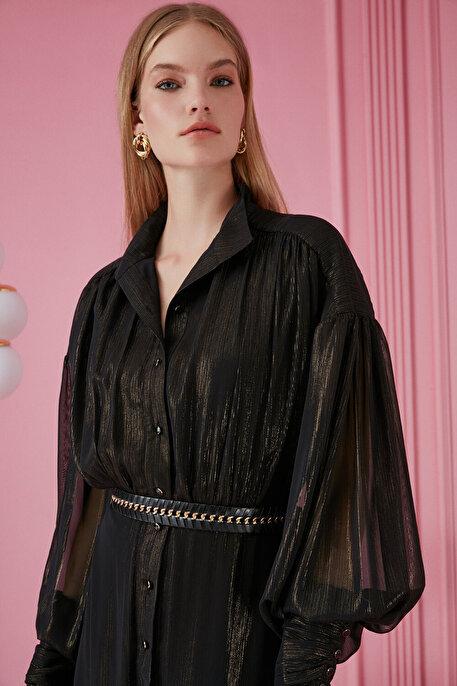 Nocturne Balon Kol Desenli Şifon Elbise