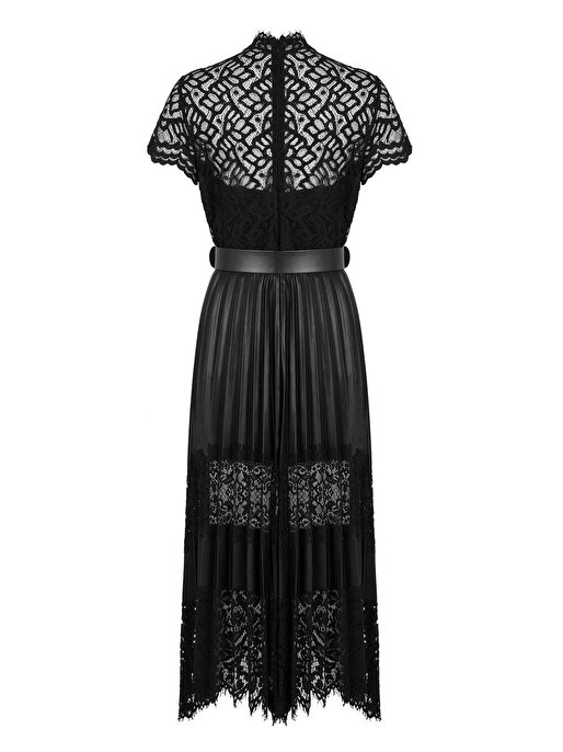 Nocturne Dantel Detaylı Pilili Deri Elbise