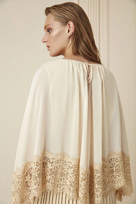 Nocturne Dantel Pelerin Detaylı Pilili Deri Elbise