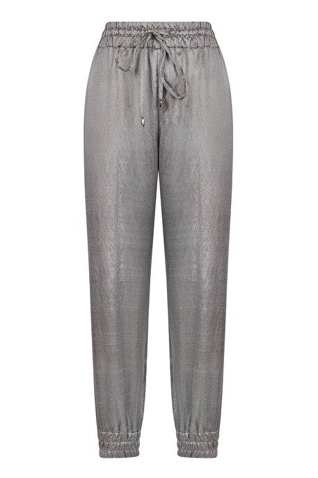 Nocturne Paçası Elastik Manşetli Metalik Pantolon